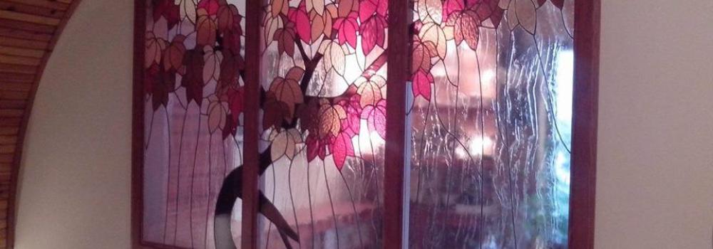 Őszi fa tiffany üveg